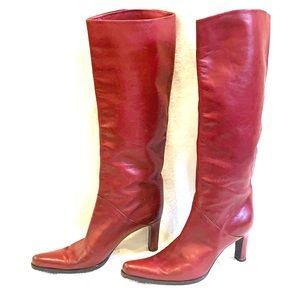 EUC Sergio Rossi Red Leather Boots Size 37